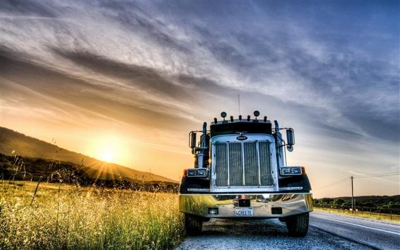 Papéis de Parede Pôr do sol, estrada, caminhão