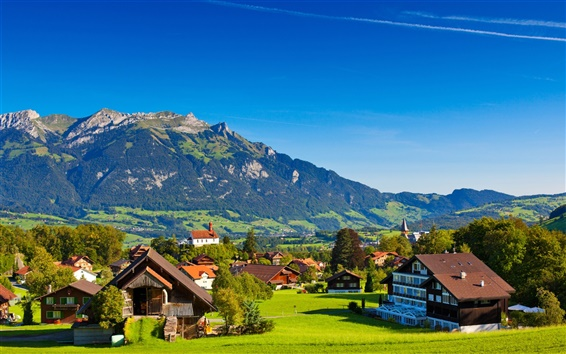 Wallpaper Switzerland, Alps, mountains, summer, nature, greenery, houses