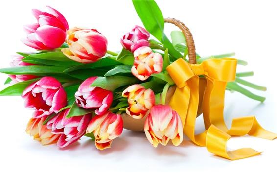 Papéis de Parede Tulipas, flores, cesta