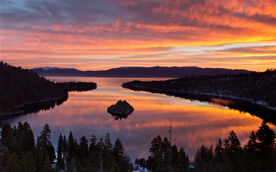 Wallpaper USA, California, Lake Tahoe, morning scenery, trees, sunrise