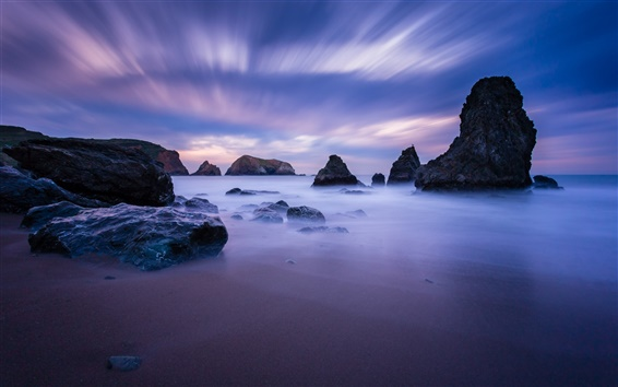 Wallpaper USA, California, ocean, coast, stones, blue, night