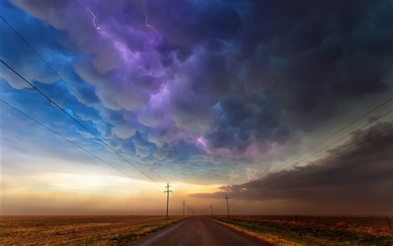 Wallpaper USA, Texas, road, storm clouds, lightning