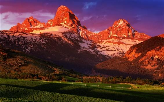 Fondos de pantalla EE.UU., Wyoming, Parque Nacional Grand Teton, puesta de sol paisaje de verano