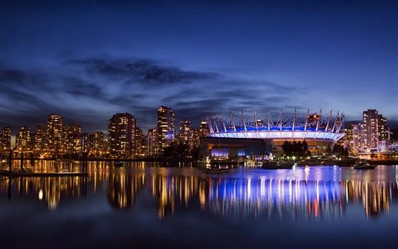 Wallpaper Vancouver, Canada, city, night, lights, skyscrapers, bay
