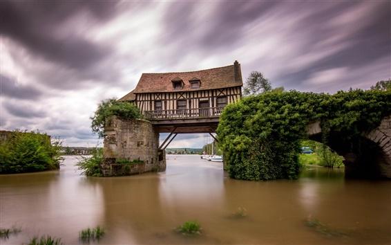 Wallpaper Vernon, France, the Seine river, the old mill, broken bridge