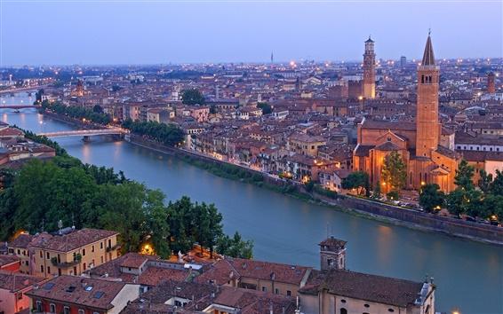 Fond d'écran Verona, Italie, rivière Adige, Maisons de ville, les ponts