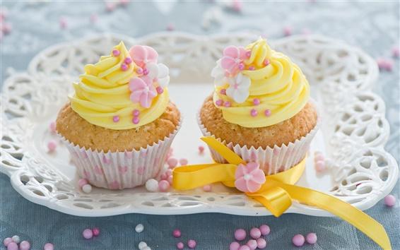 Wallpaper Yellow flowers decoration, cream cakes