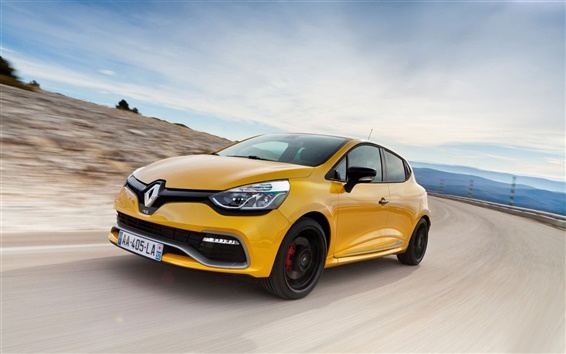 Wallpaper 2013 Renault Clio RS 200 yellow car