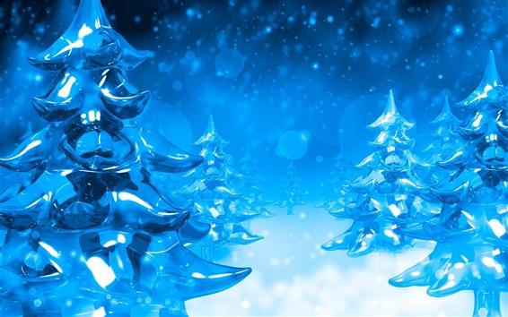 Wallpaper 3D winter blue pines