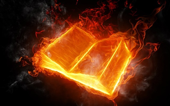 Wallpaper Abstract design, burning fire book