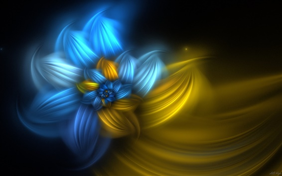 Wallpaper Abstract flowers, blue and yellow