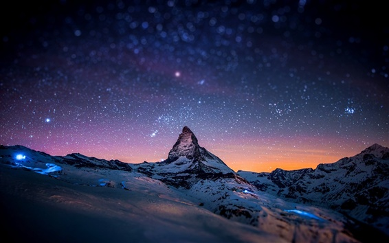 Wallpaper Alps, Matterhorn, Zermatt, Switzerland, evening, stars