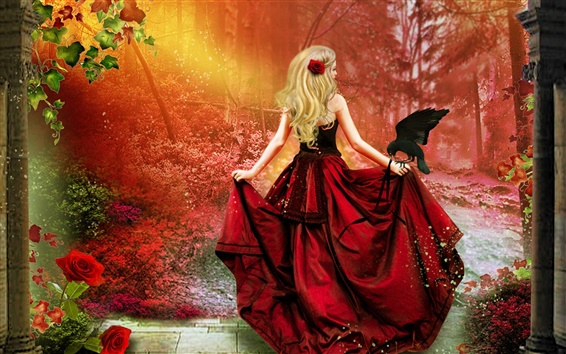 Wallpaper Art fantasy, red dress girl, blonde hair, crow, red forest