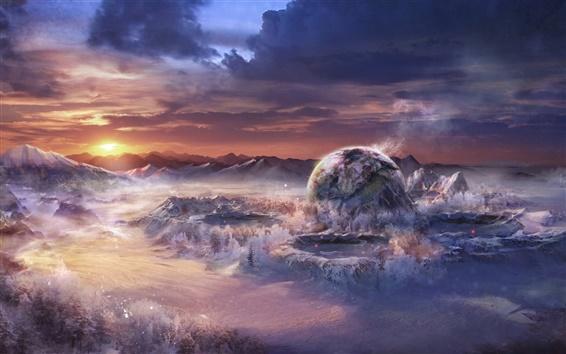 Wallpaper Art landscape, fantasy world, mountains, planets, sunset