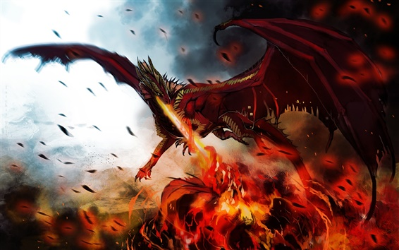 Wallpaper Art painting, dragon, monster, wings, fire