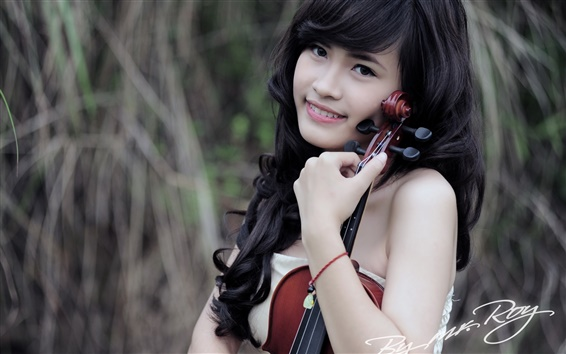 Wallpaper Asian black hair music girl smile