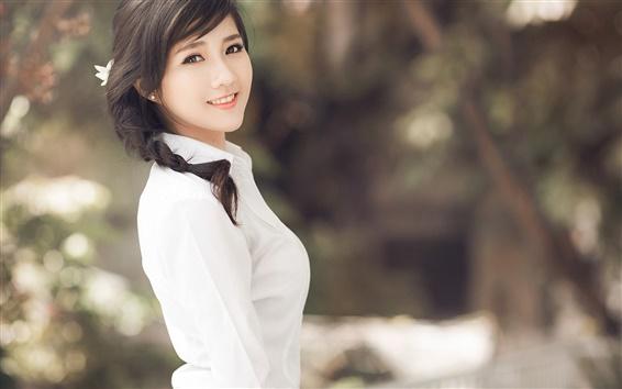 Wallpaper Asian girl, brunettes ponytails, white clothes