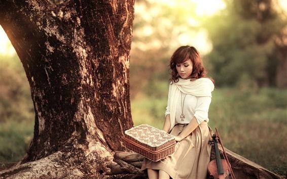 Wallpaper Asian girl, violin, music, sunset