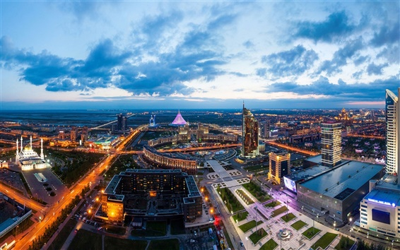 Wallpaper Astana, Kazakhstan, city landscape, dusk, lights, buildings, clouds