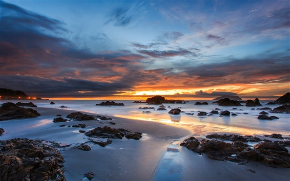 Wallpaper Australia, coast, rocks, sand, ocean, evening sunset, clouds