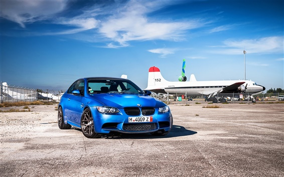 Wallpaper BMW M3 E92 blue car at airport, planes
