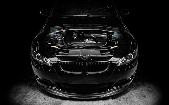 Wallpaper BMW M3 black car, engine tuning