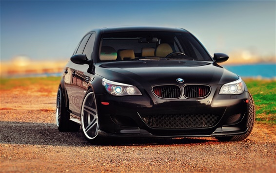 Wallpaper BMW M5 E60 black car front view