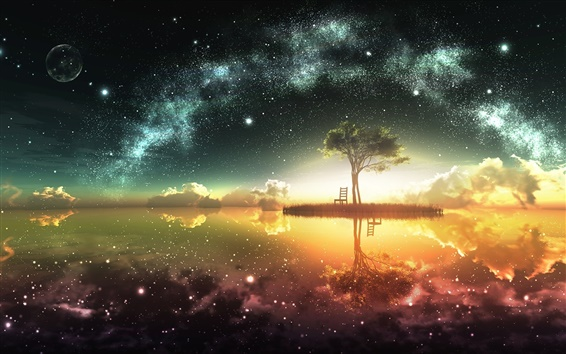 Wallpaper Beautiful artwork design, moon, island, chair, tree, stars, water reflection