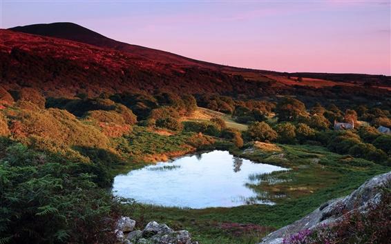Papéis de Parede Grã-Bretanha, no País de Gales, crepúsculo, montanhas, árvores, lago