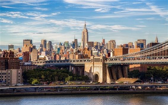 壁紙 ブルックリン橋、マンハッタン、ニューヨーク市、建物