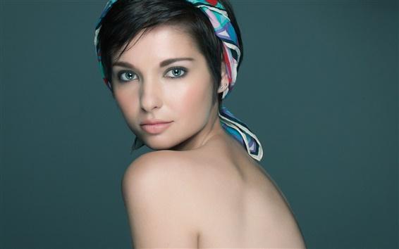 Wallpaper Brunettes girl, bandana, look back