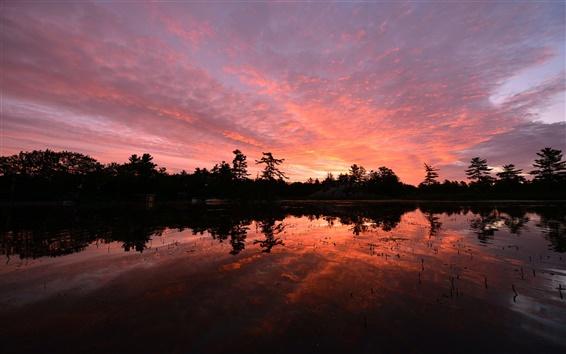 Wallpaper Canada, Ontario, lake, trees, evening sunset, water reflection