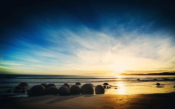 Wallpaper Coast nature landscape, sea, beach, rocks, sunset, sky, clouds