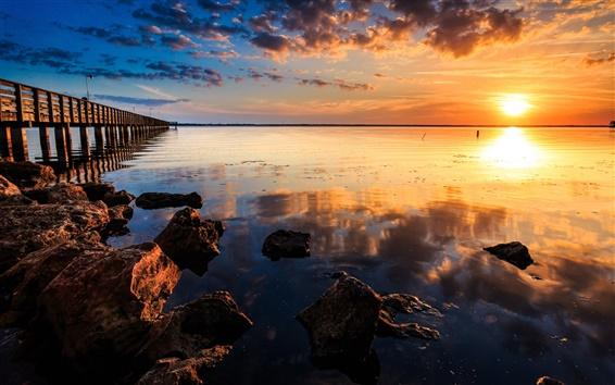 Wallpaper Coast sunset landscape, sea, pier, wooden bridge, rocks, red sky