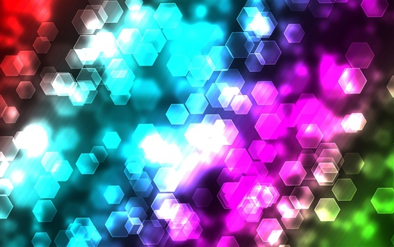 Wallpaper Colorful abstract hexagon lights