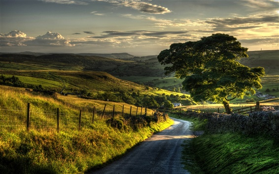Wallpaper Countryside nature scenery, fence, hills, road, trees