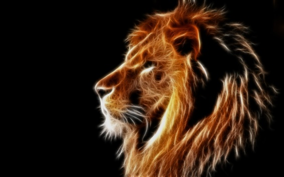 Wallpaper Creative design, light lion, mane, black background