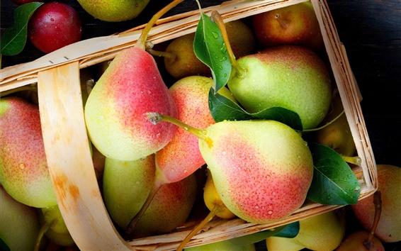 배경 화면 맛있는 과일, 배, 빨강 및 녹색