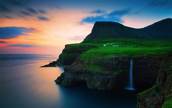 Wallpaper Denmark, the Faroe Islands, village, mountains, waterfalls, sunset