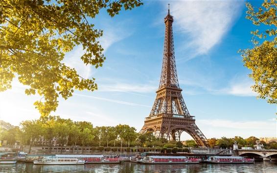 Wallpaper Eiffel Tower, Paris, France, the river Seine, boats, blue sky