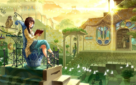 Wallpaper Fairytale town, girl, owl, warm sunshine