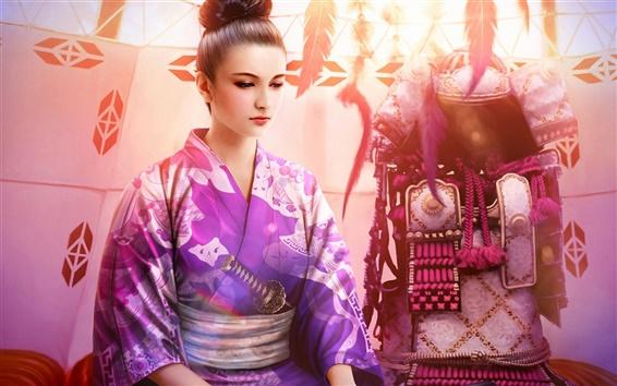 Обои Фэнтези красивая девушка кимоно, фиолетовый, катана, броня