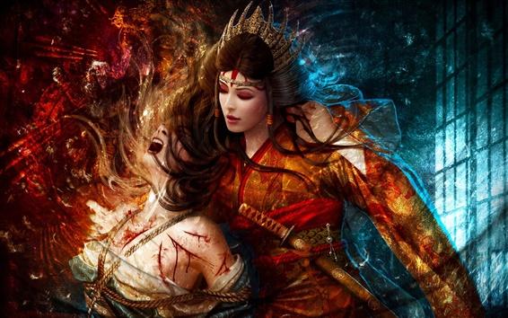 Обои Фэнтези красном платье девушки, пытки, веревка, меч
