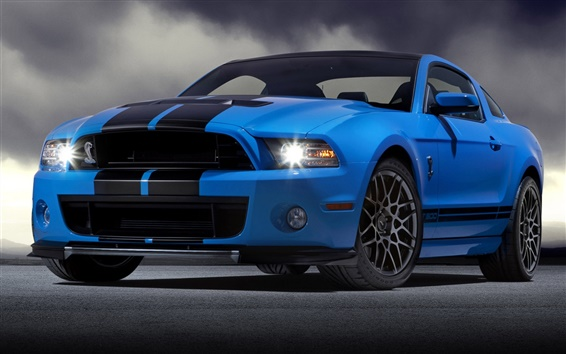 Wallpaper Ford Mustang Shelby GT500 blue supercar