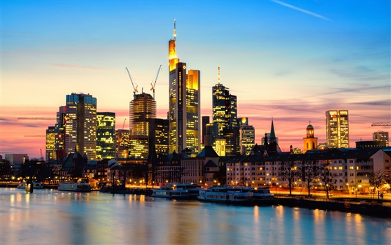 Wallpaper Frankfurt am Main, Germany, city, evening, river, lights, skyscrapers