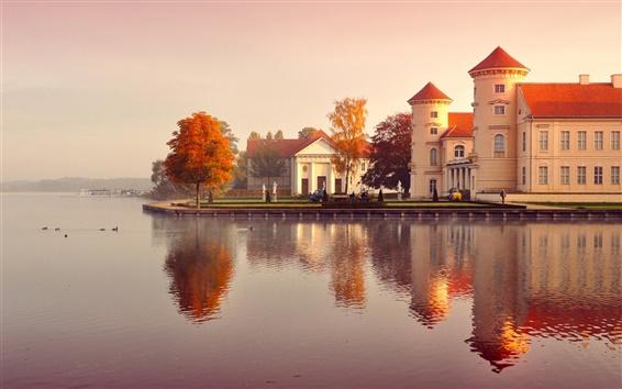 배경 화면 독일 가을, 건물, 나무, 노란 잎, 물,