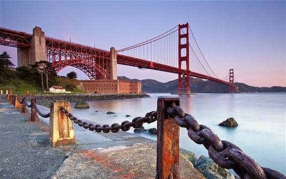 Обои Мост Золотые Ворота, Сан-Франциско, Калифорния, США, забор, железная цепь