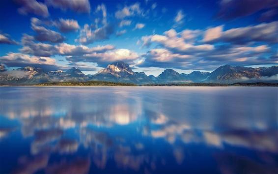 Wallpaper Grand Teton National Park, Jackson Lake, clouds, mountains, water, blue sky