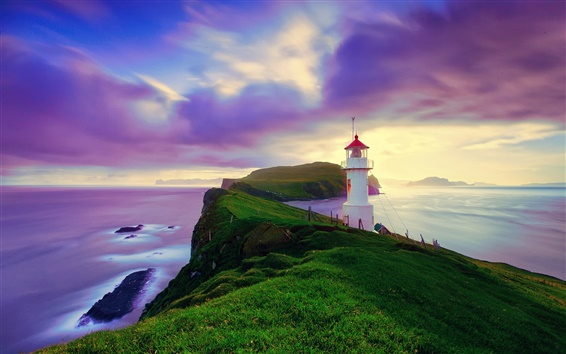 Wallpaper Iceland, Faroe Islands, lighthouse, summer, purple sky, coast