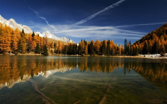 Wallpaper Italy nature, lake, mountains, water reflection, forest